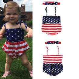 Wholesale Flag Romper - 2018 Baby Rompers Baby Clothing Sets US Flag Toddler Romper Headbands 2Pcs Set Summer Infant Onesies Boutique Suspender Bodysuit Clothes