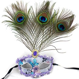 Wholesale White Peacock Feathers Wedding - Beautiful Peacock Feather Masquerade Mask Multi Color Half Face Christmas Festive Decoration Mask Club Bar Cosplay Accessories 20pcs lot