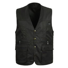Wholesale Mens Waistcoat Green Vest - Fall-100%Cotton Summer mens Suit Sleeveless Working Outwear For Men Outdoor Casual Multipocket Waistcoat Men Vest Photography Jacket