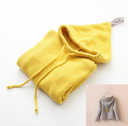 Wholesale Hooded Knit Batwing Cardigan - Spring Kids Sweater Girls Tassel Hooded Knitted Sweaters Outerwears Baby Children Knitwear Pullovers Child Clothing Yellow Gray 10894