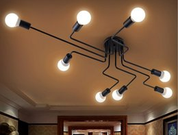 Wholesale Wrought Iron Ceiling Lights - New 4 6 8 Heads Multiple Rod Wrought Iron Ceiling Light Retro Industrial Loft Nordic Dome Lamp for Home Decor Dinning LLFA