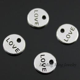 Wholesale Tiny Silver Charms Wholesale - 100pcs 9mm Zinc Alloy Double Side Tiny Love Charms Pendant Antique Bronze Silver DIY Retro Jewelry Accessories