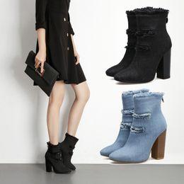 Wholesale Black Women Wearing High Heels - Winter Fashionable Women Sexy Chunky Heels Zipper Back Cut-out Denim Tassel Ankle Boots 2018 Spring New Ladies Outdoor Wear Black Booties