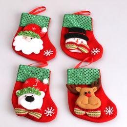 Wholesale bear christmas stocking - 2016 Santa Claus Gift Sequins Snowman Old man Bear Reindeer Christmas Socks With Small Pocket Christmas Decoration