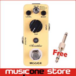 Wholesale Acoustic Electric Jumbo Guitar - Mooer Acoustikar Acoustic Guitar Simulator Pedal 3 Working Modes Piezo Standard Jumbo Full metal shell True bypass MU0356