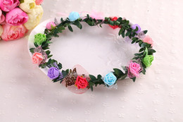 Wholesale Wholesale Boho Headband - Bohemian Terylene Flower Wreath Garland Crown Festival Photography seaside Wedding Bridal Bridesmaid Floral Headband BOHO Headdress