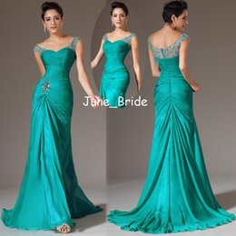 Wholesale Discount Modern Art - Hot Sall Bodycon Mermaid Turquoise Chiffon Prom Dresses Bling Crystal Pleats V neck Capped Floor-Length Evening Gown Factory Discount Dress