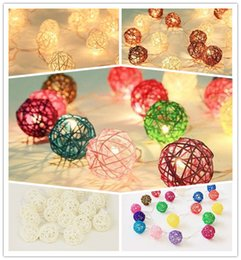 Wholesale Colored Wedding Set - 8 play mode Mixed 20pcs sets Brown white multicolor Rattan Wicker Ball Patio Party String twinkle Fairy Lights, Wedding decor