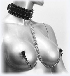 Wholesale Bdsm Nipple Collar - Sex Toys Adult Toys Fetish Fantasy Leather Neck Collar with Sm Nipple Clamps Love Bondage Bdsm Adult games