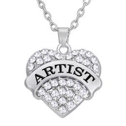 Wholesale Quality Text - Fashion Hot Sale Top Quality Text ARTIST Zinc Alloy Material Crystal Heart Pendant Necklaces Message Jewelry