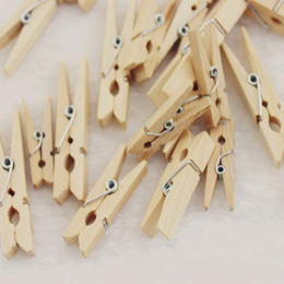Wholesale craft pegs - Mini Natural Wooden Clothes Clip Photo Paper Peg Clothespin Craft Clips 25MM