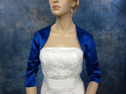 Wholesale Blue Satin Shrug - Simple Blue Bridal Jacket With 3 4 Sleeve Satin Wedding Bolero Jacket Shrug Wedding Wraps Custom Made Hot Sale