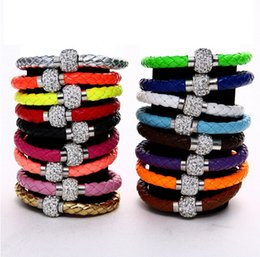Wholesale European Shamballa Beads - mix color mix order weaved Shamballa PU leather bracelet with CZ crystal magnetic clasp