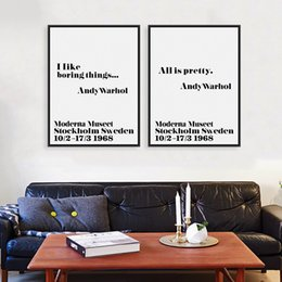 Wholesale Andy Warhol Canvas Art - Modern Nordic Black White Minimalist Motivation Andy Warhol Life Quotes Art Print Poster Wall Picture Canvas Painting Home Decor