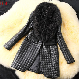 Wholesale Winter Coats Fashion Ladies Fur - Spring Autumn Winter Leather Jacket New Black Party Wear Long Sleeve Faux Fur Collar Outwear Ladies Plus Size Coat Woman M-XXXL SV007257l