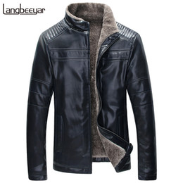 Wholesale Lether Jacket Men - Wholesale- Top Grade 2017 New Fashion Brand Winter Leather Jacket Men Casual Leather Jacket Lambswool Brown Men Lether Jackets And Coats