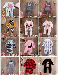 Wholesale Boys Plaid Pajamas - INS Kids Jumpsuit Baby Romper Cotton Pajamas Christmas Bodysuit Plaid Crown Striped Pink Red Boy Girls Boys Kids Outfits 0-24M Toddler Suit