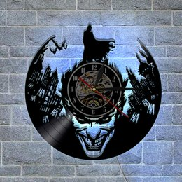 Wholesale Wall Stickers Batman - Batman Joker Custom-made Gifts Home Decor Modern Design Wall Art Decal Sticker Black DIY 3D Led Night light Quartz Vinyl Record Wall Clock