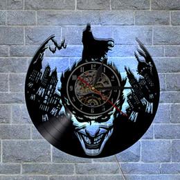 Wholesale Led Clock Diy - Batman Joker Custom-made Gifts Home Decor Modern Design Wall Art Decal Sticker Black DIY 3D Led Night light Quartz Vinyl Record Wall Clock