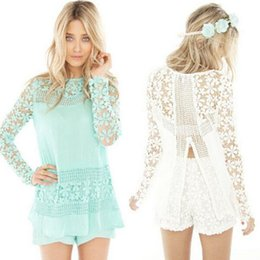 Wholesale Long Button Up Womens Shirt - Womens shirts lady girls casual sexy V back Crochet Lace Hollow Out long sleeve blouse S-XXL fahsion casual up tops shirts 703