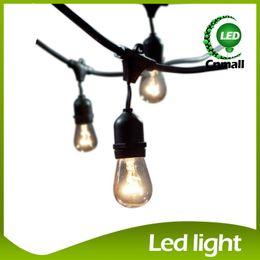 Wholesale Plug String Lights - Bulb String Light 48Ft (14.8M) Outdoor Vintage String Light 15pcs Incandescent 11W E27 Clear Bulbs Black plug-in Cord Globe Light String