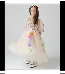 Wholesale Floral Gauze Dress - 2015 New Unique Children's Wedding 3D Flower Girl Dress Girls Beautiful Faery Princess Dress Bubble Fairy Party Dress Gauze Dressy A4662