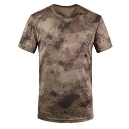 Wholesale Ruins Camouflage - Wholesale-Best Sale Camouflage T-shirt Men Breathable Army Tactical Combat T Shirt Military Dry Sport Camo Camp Tees-Ruins Yellow XL