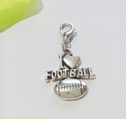 Wholesale I Love Football - 120ps Tibetan Silver Plated I Love Football Dangles Charms Lobster Claw Clasp Pendants for Jewelry Making DIY Handmade 35x18mm