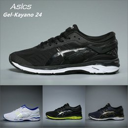 Wholesale Hiking Boots Mens - Wholesale Best Asics Mens Gel-Kayano 24 Originals Cushioning Running Shoes White Silver Blue Athletic Boots Sport Sneakers Size 36-44