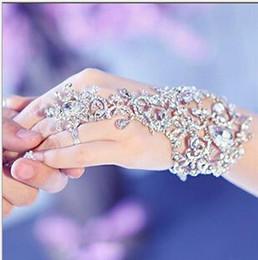 luva de pulseira Desconto O Envio gratuito de Luvas Baratas de Casamento Nupcial Jóias de Cristal Strass Dedo Pulseira Anel Pulseira Lindo Partido Evento pulseira Pulseira