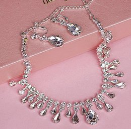 Wholesale Cheap Silver Rings Sale - Stock 2016 Hot Sale transparent wedding necklace earrings cheap bridal jewelry sets wedding accessories