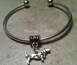 Wholesale Silver Dresses Bangles - DACHSHUND DOG Copper Good Luck Charms Bracelet &Bangle 10 PCS Wholesale Vintage Silver For Woman Dress Brand DIY Jewelry L493