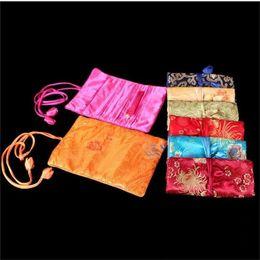 Wholesale Silk Jewellery - Portable Luxury Travel Silk Jewellery Roll Storage Bag Folding Zipper Large Flower Cosmetic Bag For Women Drawstring Makeup Bag 10pcs lot