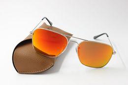 2019 óculos de sol laranja para homem 50 pcs melhor qualidade dos homens moda feminina retângulo óculos de sol caravana óculos de sol de liga de prata flash espelho de metal orange 58mm lentes de vidro casos óculos de sol laranja para homem barato