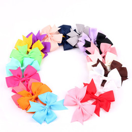 Wholesale Hair V Shape - Wholesale Handmade Hair Clips V-shaped baby dovetail ribbon bow hair accessories Satin 20 Colors hairpin children headdress