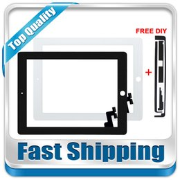 Wholesale Ipad2 Screen Replacement - Wholesale- For New iPad2 A1395 A1396 A1397 Replacement Touch Screen Digitizer Glass without Home Button White Black Free Shipping