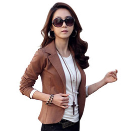 Wholesale Womens Shorts Jacket Suit - Wholesale- Casual Slim Solid Suit Jacket Coat Outwear Womens Fashion One Button Tops N2 B3