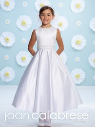 Wholesale Dress Making Pins - Hot Pin JOAN CALABRESEF 116374 Flower Girls Dresses New Arrival White Junior Bridesmaid Dress Special Occasion Gown Kids Formal Wear