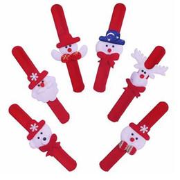 Wholesale Kids Slap Bracelets - Christmas Patted Hand Circle Santa Claus Slap Bracelet Xmas decoration Wristband Snowman Kids Toys Gift Party Decoration CCA8095 300pcs