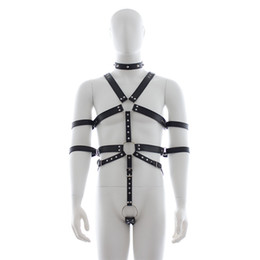 Wholesale Male Slave Clothes - Male slave fetish harness with handcuffs Collar collares pulseiras