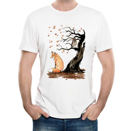 Wholesale Owl Tees - Fashion Art Design Winds of Autumn T-shirt Men's Fox Bird Owl Printed T-shirt High Quality Hipster Cool Tee Shirts Tops