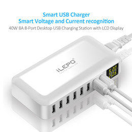 Wholesale Hot Android Phones - 1PIECE!! Hot Smart 8A USB Travelling Charger LCD Display 8 Power Ports Hub High Speed Multiple Adapter powerbank Wireless for Android Phone