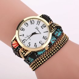 Wholesale Geneva Style Quartz - Top Design Casual Summer Style Fabric Bracelet Wristwatch Women Dress Watches Brand Geneva Long Chain Watch XR1263