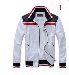 Wholesale Man Jacket Fabric - Free shipping Fall thin Men sportswear high quality waterproof fabric Men sports jacket Fashion zipper POLO jacket size M- 2XL