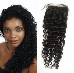 Wholesale Baby Curls - Filipino beyonce curl hair silk base closure 4x4 virgin G-EASY hair silk closure with baby hair deep curly top closure