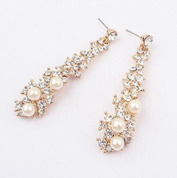 Wholesale Elegant Pearl Drop Earrings - Fashion full rhinestone crystal pear drop Dangle Earrings elegant delicate Rhinestone pearl earring