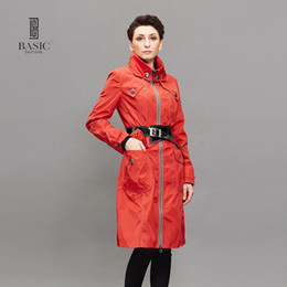 Wholesale Hooded Womens Trench Coat - Wholesale- BASIC EDITIONS Spring Autumn Fashion Womens Trench Coats Slim Turtleneck Zipper Long Trench Coat With Belt - FZ-082041