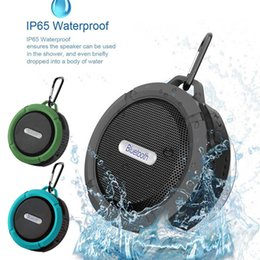 Wholesale up mp3 speaker - Waterproof C6 Bluetooth Speaker Portable Mini Stereo Handsfree Suction Cup Hook Up Outdoor Sport Shower Wireless Subwoofer 100PCS LOT