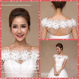 Wholesale Beautiful Shawls - Beautiful Lace Flowers Wraps Rhinestone Beaded Bridal White Beading Shawl Jacket Bolero Long Wraps Jewelry See Through Spring Fashion
