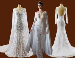 Wholesale White Cloak Full Length - Real Image 2016 Full Lace Wedding Dresses Berta Mermaid Lace Bridal Gowns Beads Detachable Long Cloak Wraps Sexy V Neck Sheer Backless